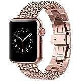 Sostituisci Apple Watch Band 38mm, 40mm,42mm,44mm Cinturino in acciaio inossidabile Cinturino Smart Watch con clip in metallo per iwatch Apple Watch Series 6 5 4 3 2 1 (Series 5 4 3 Gold,38mm 40mm)