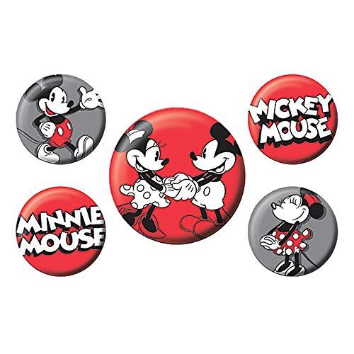 Echte Disney Classic Mickey Mouse 5 Stück Abzeichen Set Minnie Mouse