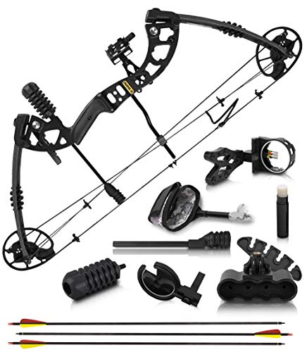 """2020 Compound Bow and Arrow for Adults and Teens – Hunting Bow with Gordon Limbs Made in USA - Fully Adjustable for Women and Youth 30-70 LBS, 23.5-30.5"""" - 320 FPS Speed – 5-Pin Sight, Quiver - Left"""