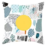 Beydodo Fundas de Cojines,Patrón de Abstracto Cactus y Árbol,Funda para Cojines 40x40 Funda Cojines Decorativos para Sofa Blanco Verde Amarillo Gris