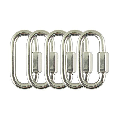 Proteus Stainless Steel D Shape Quick Link 1/8 inch, Locking Carabiner Chain Connector Keychain Buckle, Pack of 5
