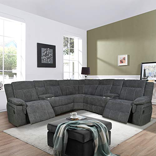 MLT Motion Sectional Sofa with Storage & Cup Holder, Linen Fabric Sofa with Solid Wood Frame for Living Room (Grey)