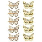 TENDYCOCO Pinza de Pelo con Pasadores de Pelo de Mariposa para Mujeres Accesorios Decorativos para El Cabello de La Boda para Novia Oro 10Pcs / Pack