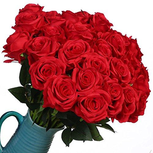 Veryhome 10 Piezas Artificial Seda Rosa Flores Falsas Ramos de Flores para La Decoración de La Boda Home Birthday Party Arrangment Jardín Decoración (Rojo, Rosas florecientes)