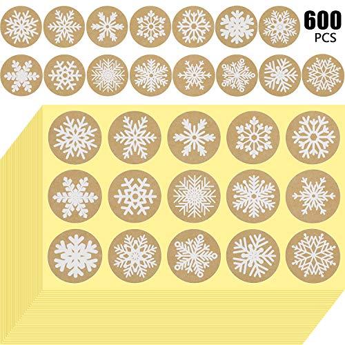 600 Piezas Pegatina de Copo de Nieve Pegatinas de Navidad de Papel Kraft 1,5 Pulgadas Etiquetas Adhesivas Redondas Adornos para Sobre Bolsa Sellado Decoraciones