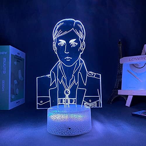 Lámpara de ilusión de Talbe de luz de noche Led 3D Anime The Attack On Titan Mikasa Annie Leonhart para decoración de dormitorio Niños-Crack Base_No Remote