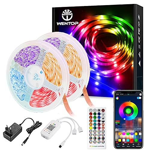 WenTop Striscia LED, Smart 20m Bluetooth Strisce LED Musicale con Telecomando di 40-tasti, App Controllato, Funzione di Temporizzazione On/Off, per Casa Bar Festa , 2 Rotoli da 10m[Classe A+++]