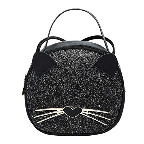 Material:Made of glitter PU leather,easy to clean ,you can wipe with a wet cloth when it gets dirty. ADORABLE CAT STYLE: Novelty glitter cat face shape with handle, cute,simple and stylish, this is a perfect and fashionable bag which is made for you....