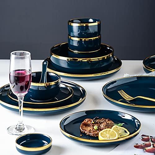 PPuujia Plato de cena de porcelana azul Platos de cena de lujo con incrustaciones de oro de cerámica, plato de alimentos para tartas, cuencos, platos de vajilla para restaurante (color 6 personas)