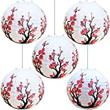 Smeiker Chinese Japanese Red Cherry Flowers (5 Pack 12' Diameter) White Round Chinese Japanese Paper Lamp for Shade Chinese Oriental Style Light Restaurant Wedding Party Home Decor Gifts (Red)