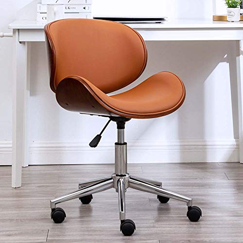 OKAKOPA Home Office Desk Chair, Vintage 360° Swivel Home Office Computer Task Executive Desk Armless Chair w/Adjustable Height (Brown Leather)