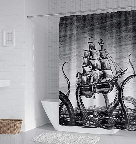 LOMELIN Custom Caribbean Octopus Kraken Shower Curtain Waterproof Fabric for Bathroom Decor Size 66x72 in