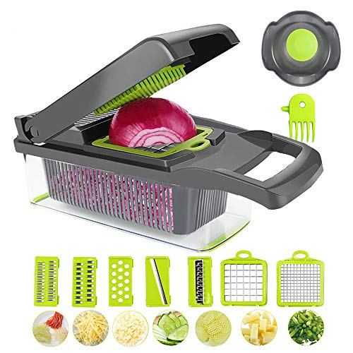 BLBO Onion Chopper, chopper vegetable cutter Vegetable Chopper Veggie Cutter Multifunctional Mandoline Slicer Dicer With Colander Basket And Container