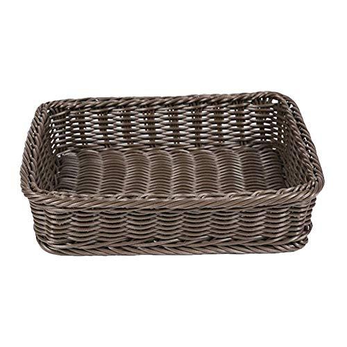 Fablcrew. Cesta de almacenamiento trenzada rectangular para pan de plástico, cesta para pan de mimbre para frutas, verduras, pan, cookies, Candy, 40*30*15cm, marrón