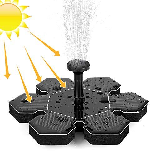 Orlegol Solar Springbrunnen, 1.5W Solar Teichpumpe mit 5 Effekte Solarbrunnen Schwimmend Solar Wasserpumpe Solarpumpe, Solarspringbrunnen für Gartenteich, Springbrunnen, Vogelbad, Pool, Fisch-Behälter