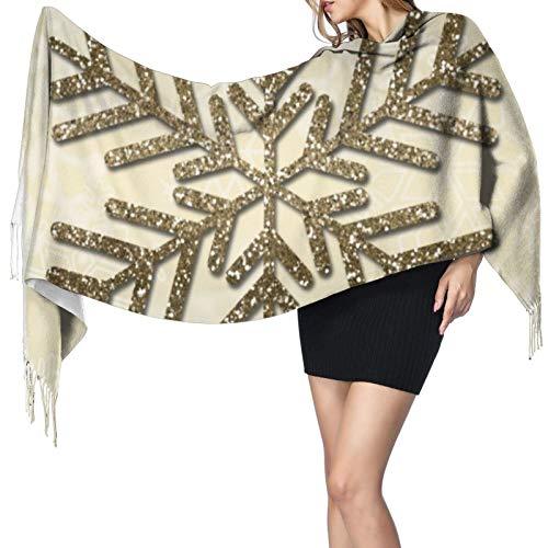Chal largo cálido con copos de nieve con purpurina dorada para mujer, bufandas grandes, sensación de cachemira, bufanda larga