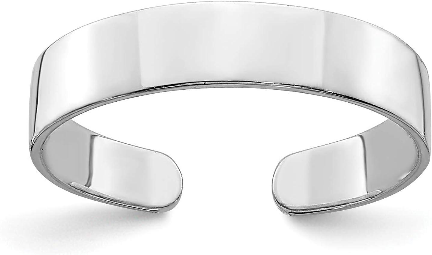 14k White Gold Traditional Plain Toe Ring