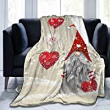 Delerain Christmas Gnome Tomte Soft Throw Blanket 40'x50' Lightweight Flannel Fleece Blanket for Couch Bed Sofa Travelling Camping for Kids Adults