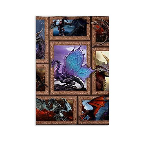 WUZHI Póster retro con diseño de dragón 3D, manta de forro polar para dormitorio, póster de lona y arte de pared, diseño moderno para dormitorio familiar, 60 x 90 cm
