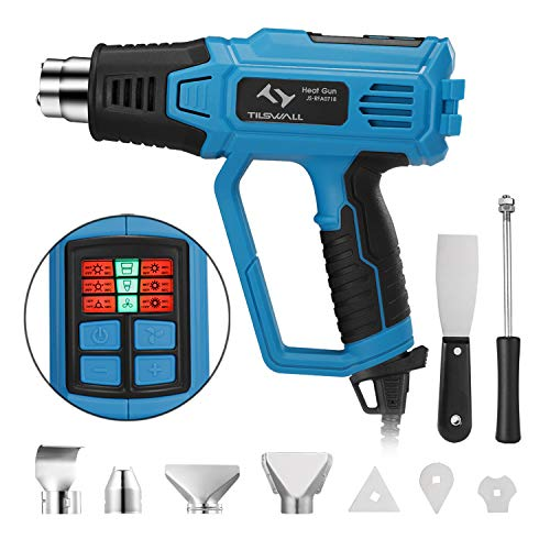2000W Heat Gun, Tilswall Professional Hot Air Gun with 12 Modes Adjustable Temperature 50-600 ℃, 4 Nozzles with Scraper, Memory Function for DIY, Stripping Paint, Shrinking PVC and Home Improvement
