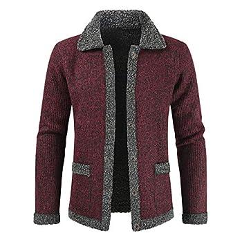 Winter Men Velvet Sweatercoat Pattern Style Wool Cardigan Male Casual Thicken Warm Fleece Long Sweater for Man red L