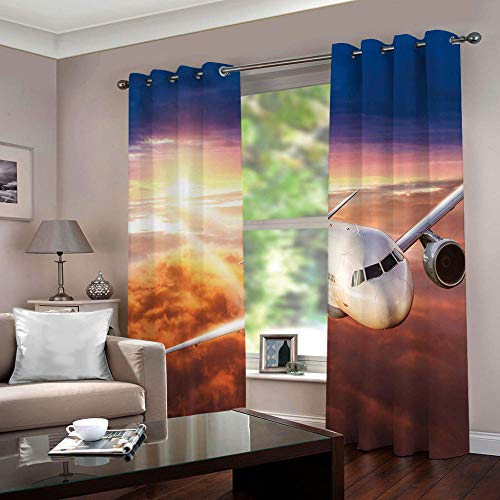 YMLJH Impresión Digital 3D Cortinas Termicas Aislantes Avión de pasajeros al Atardecer Ojales Opaca Cocina Salon Dormitorio Moderno 2 x 117x138cm(An x Al)