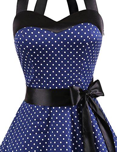 Dresstells Neckholder Rockabilly 50er Polka Dots Punkte 1950er Kleid Petticoat Faltenrock Navy White Dot M - 5