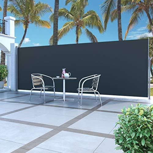 Festnight Seitenmarkise 500 x 160 cm Schwarz | Sichtschutz Sonnenschutz Windschutz Wasserfest | Markise für Garten Balkon Terrasse