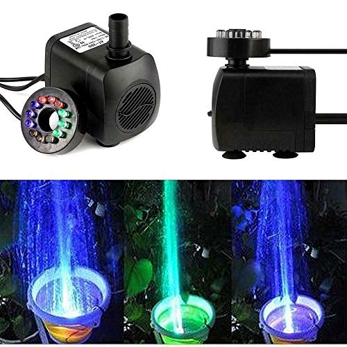 Riiai Fountain Pump With 12LED Lights,Micro Submersible Water Pump Pumping Filter Aquarium Fountain Pump For Rockery Crafts Pond Garden Pool