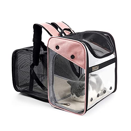 GAPZER Pet Backpack Carrier, Foldable Expandable Carrier Bag for Small Dogs Cats, Puppies Up to 20 Lbs (Pink)