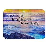 VAMIX バスマット 風呂マット Ocean SunsetLive単に笑うことはしばしば深く愛する引用 足拭きマット 吸水 速乾 滑り止め 浴室 洗面所 脱衣所 風呂 台所 キッチン玄関マット(45x75cm)