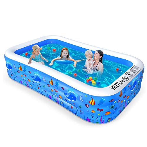 "VRZTLAI Inflatable Swimming Pool, Family Lounge Pool Kiddie Pool for Kids, Adult, Infant, Toddlers, Garden, Backyard, Outdoor Summer Water Party, Full Sized 120"" X 72"" X 22"""