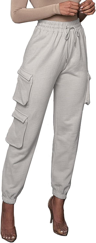 Vaceky Women's Casual Pants High Waist Drawstring Elastic Jogging Jogger Pants with Pockets