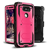 J.west G5 Case, Full-Body Rugged Combo Holster G5 Case + Belt Swivel Clip Shock Absorption TPU Scratch Resist Bumper Protective Cover Without Built-in Screen Protector for LG G5 2016 (Rose Pink)