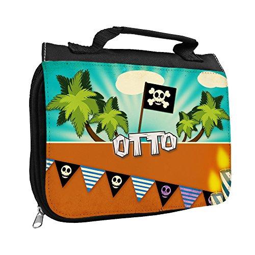 Kulturbeutel mit Namen Otto und Piraten-Motiv für Jungen | Kulturtasche mit Vornamen | Waschtasche für Kinder