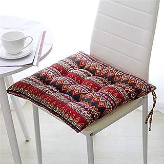 YK.Hapyshop - Juego de 1 cojines de silla cuadrados con lazos, cojines para sillas de comedor, cocina, jardín, sala de estar, patio, oficina, interior, exterior, 40 x 40 x 8 cm (Multi)