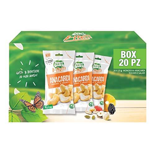 Aperisnack B-Fruit - AP13.041.01 Anacardi Tostati al forno e Salati, Frutta secca 100% naturale tostata in forno e salata - 20 Pacchetti Monodose da 25 g