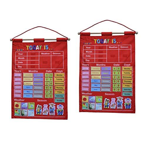 Milageto 2X My Calendar, Juguetes de Alfabeto de Temporada para Colgar en La Pared, para Niños Pequeños