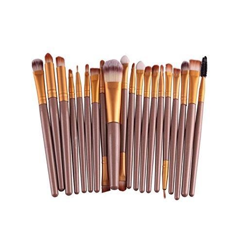 MoGist 20 pièces Pinceaux Brosse Maquillage Visage Yeux Blush Lèvres Contour Lèvres Correcteur Pinceaux Poignée Poussière court brun doréCette brosse pour application de base est parfaite pour le maq