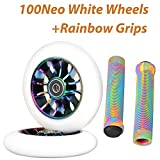 100mm Scooter Wheels - Neo Oil Slick 100mm Metal Scooter Wheels Replacement - Pro Scooter Wheels 100mm Pair - Pro Scooter Wheels 100mm - 24mm x 100mm - Bearings Installed - Scooter Wheels for Kids