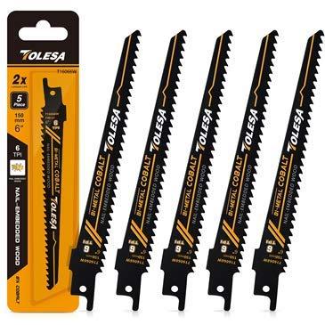 TOLESA Reciprocating Saw Blade Bi-Metal Cobalt for Sawzall Saw 6-Inch 6TPI Nail-Embedded Wood - 5 Pack