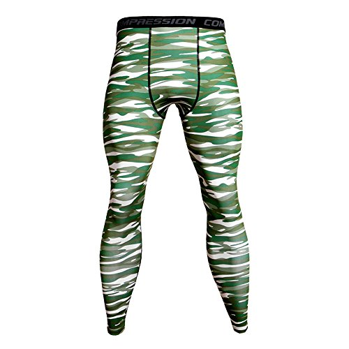 Celucke Sport Leggings Herren Camouflage Strumpfhose Klassisch Laufhose Pro Cool Compression Tights Funktionswäsche Quick Dry Kompression Hose für Fitness Gym Joggen