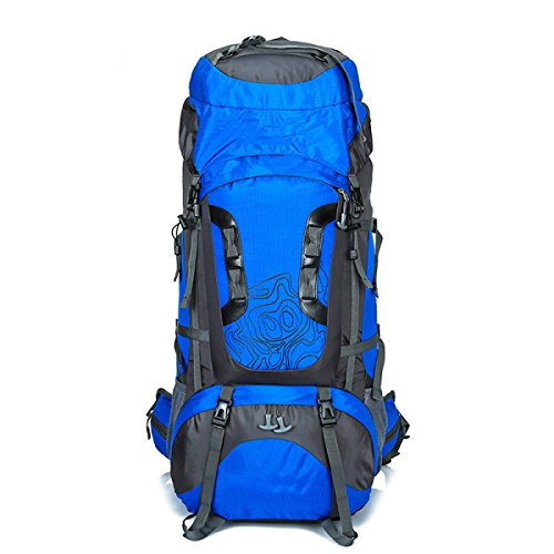 WuJiPeng Sac à Dos D'aventure d'alpinisme Grande Capacité 56-75L Sac à Dos De Randonnée De Camping Multi-usages Sac à Dos De Randonnée en Plein Air,Blue