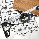 WANTOUTH Squadra Combinata 300 MM Goniometro Combinazione Tri Square Combinazione Multifunzionale Regolabile In Acciaio Inossidabile Combinazione di Righello per Falegnameria Pittura Design Fai Da Te