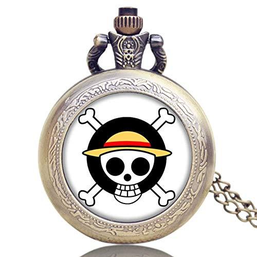Unique Pocket Watch, Japan Animation One Piece Extension Skull Symbol Design Reloj de Bolsillo para Hombres, Pocket Watch Gift, Reloj de Bolsillo Reloj de Pared con Cadena