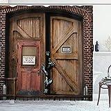 ABAKUHAUS Zombie Duschvorhang, Monster-Holz-Tür, Bakterie Schimmel Resistent inkl. 12 Haken Waschbar Stielvoller Digitaldruck, 175 x 180 cm, Umbra Kastanienbraun