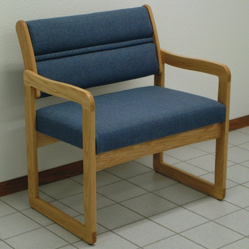 Sled Base Bariatric Office Guest Chair in Solid Oak w Light Finish (Powder Blue)