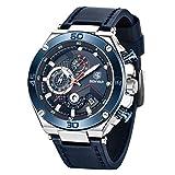 BENYAR - Reloj de pulsera para hombre, diseño de cara grande, correa de piel deportiva casual