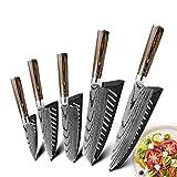Cuchillo láser lijado chef cuchillos de cocina del cuchillo 7Cr17 japonesa 440C alto contenido de carbono del acero inoxidable de imitación de Damasco (Color : K)