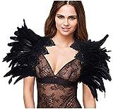 L'VOW Disfraz gótico de plumas negras para mujer, con alas de ángel, cuello de cuervo Tipo B. Talla única